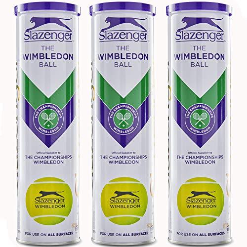 Slazenger WIMBLEDON Tennisbälle 12 Bälle (3 x 4) in der Metall Dose