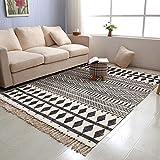 USTIDE Black & Cream Living Room Rug, Farmhouse Retro Shag Rag Rug Large Natural Cotton Accent Rug Washable (4ftx6ft, Black&White)
