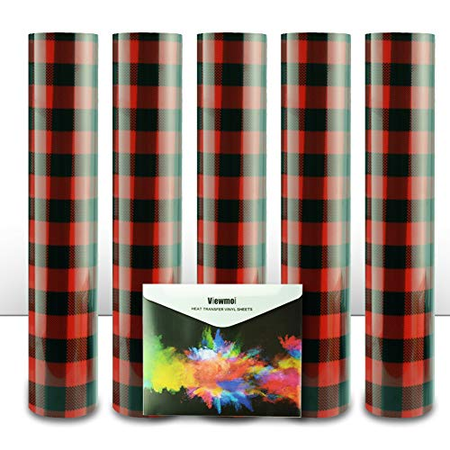 Viewmoi Christmas Buffalo Plaid Pattern HTV Vinyl, Heat Transfer Vinyl (HTV): 5 Pack 12' x 10' Sheets,HTV Vinyl Pack forT Shirts & Other Fabrics, Easy to Cut, Weed & Press (Red & Black)