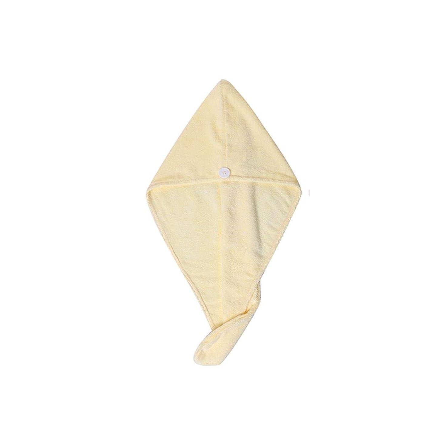 ポルノ伝統伝導率TYLDZ シャワーキャップ、乾いた髪キャップ、女性の柔らかな吸水性と速乾性シャワーキャップ、1枚のタオル、フード付きのシャワーキャップ、ピンク、黄色、紫 (Color : Yellow)