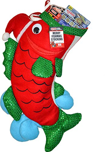 "RIGRAP Red Merry Fishmas Stocking, 22""+ x 12"