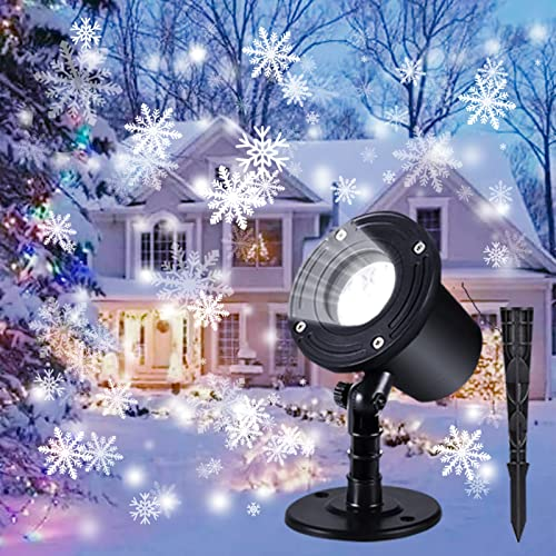 Proiettore Luci Natale, Luci di caduta della neve del LED, Decorazioni natalizie Indoor Outdoor impermeabile Fiocco di neve rotante Paesaggio lampada RF e Timer per Natale, Festa, Nozze e Giardino