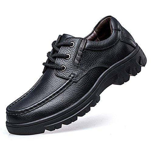 ailishabroy Zapatos Casuales para Hombres Cuero Negro con Cordones Bajos con Cordones Oxfords (39 EU, Negro)