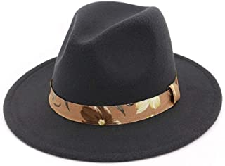 Fedoras Hats for Women Wide Brim Felt Hat Ladies Tweed Army Green Jazz Cap Female Leopard Winter Elegant Pork Pie Hat` TuanTuan (Color : Gray, Size : 56-58)