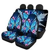 Woisttop Lot complet de 4 housses pour sièges de voiture avant et arrière Ajustement universel Motif papillon bleu
