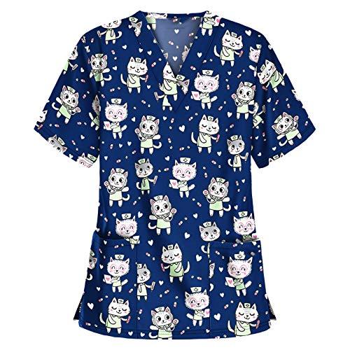 2021 Ropa de Trabajo Mujer Bolsillo Uniformes Cuello Pico Mangas Cortas Uniformes Camiseta de Manga Corta con En Forma de Corazon Estampado de Dibujos Animados para con Cuello en V Trabajo Uniform
