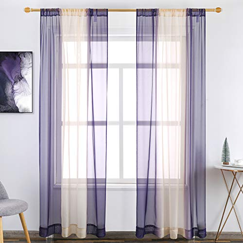 Set of 2 Panels 2 Tone Bedroom Curtains 84 inch Length Lavender Purple and Beige Omber Curtains Panels/Scarves/Drapes/Treatment Sheer Voile Window Curtains Scarf for Bedroom and Kitchen 52X84