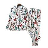 HIUGHJ Pijamas Cuatro Temporadas Lindos Dibujos Animados Coreanos Gatos Pijamas Conjuntos Mujeres 100%algodón de Calidad de FranelaPijamas OcasionalesFemeninosMujeres