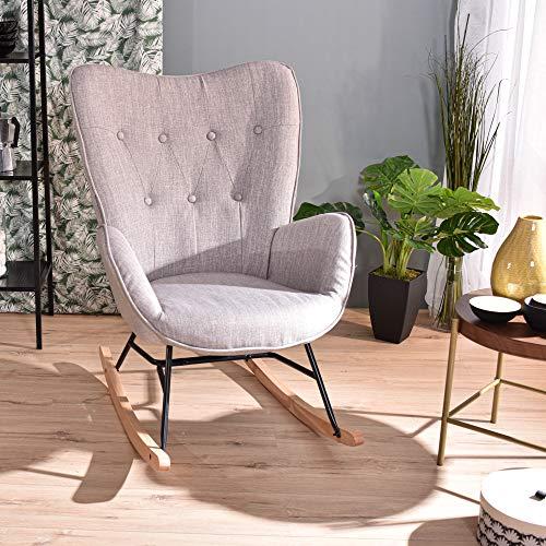 Furnish1 Zeitgenosse Gepolsterter Schaukelstuhl Lounge-Sessel, Metallrahmen und Holzsockel, Grau