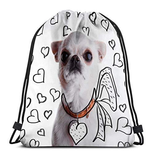 JHUIK Drawstring Bag Backpack,Mochila de Viaje con cordón Mochila Deportiva para Todos Mockup de Titular de dirección en Forma de corazón de Chihuahua Blanco Divertido