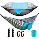 Newdora Camping Hammock with Mosquito Net, Portable Hammock for 2 Person, Double Parachute, Swing Sleeping Hammock Bed with Net and 2 Hanging Ropes for Outdoor, Travel, Indoor Hammock