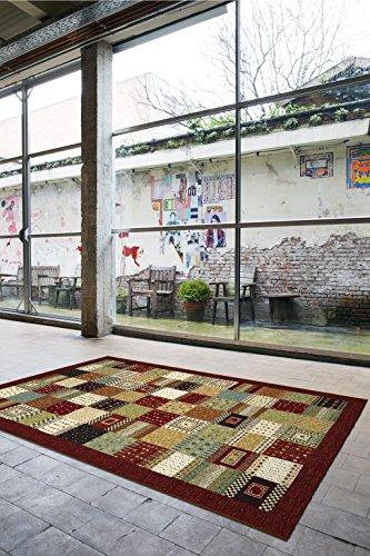 Taracarpet Gabbeh Teppich aus hochwertiger Synthetik aus Belgien für Wohnzimmer und Schlafzimmer geeignet (80 x 150 cm, 03200368312 Loribaf rot)