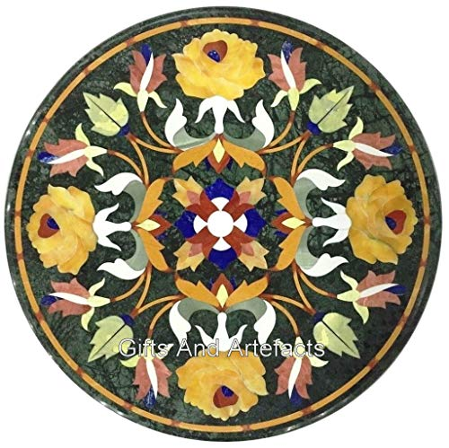 Gifts And Artefacts - Mesa redonda de mármol (35 x 30 cm), diseño de flores, color azul