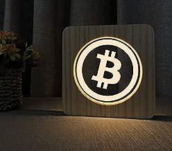 Bombilla LED en madera, de Bitcoin Logo Design–El regalo perfecto para Krypto Fans (BTC)