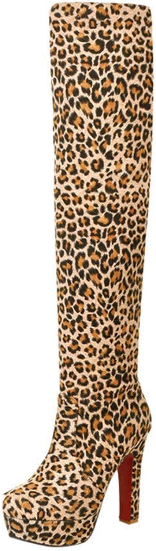 Women's Suede Leopard Over The Knee High Heel Boots