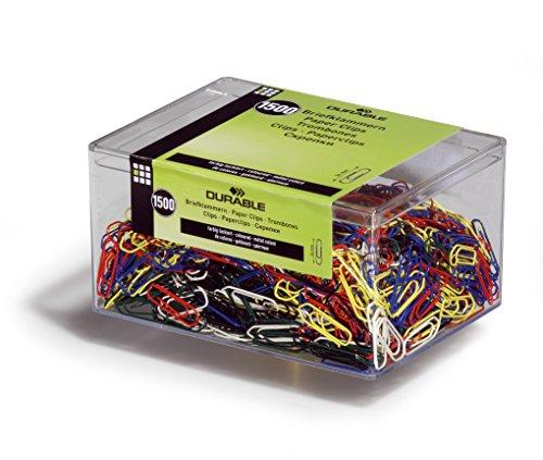 DURABLE Hunke & Jochheim Briefklammer, Metall, 26 mm, farbig lackiert, Kunststoffschachtel mit 1500 Stück