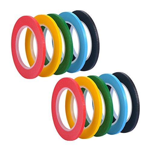 10 Stück 3 mm x 13 m Linienband Markierungsband Whiteboard Raster Band Selbstklebendes Tape Artist Tape, 5 Farben