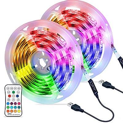 🎃【Tira LED 6M】- Las Tira LED tienen 180 RGB 5050 LED en 6M (3M*2 Pack), Súper Brillantes. Crea una iluminación de ambiente perfecta para usted y para sala de estar, dormitorio, terraza, jardín, cocina, fiesta, etc. 🎃【 Tira LED USB y IP67 Impermeable】...