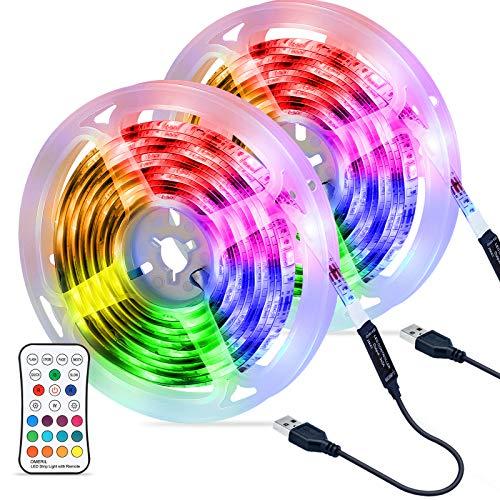 OMERIL Tira LED RGB 6M Impermeable, Tiras LED USB con Control Remoto, 4 Modos de Brillo y 16 Colores, Tira LED Regulable para...