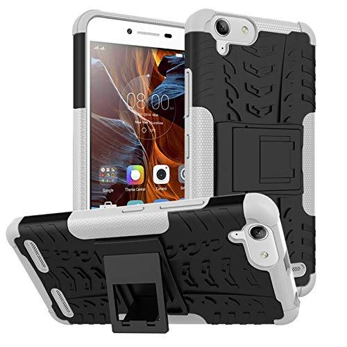pinlu Funda para Lenovo K5 / K5 Plus (5 Pulgada) Smartphone Doble Capa Híbrida Armadura Silicona TPU + PC Armor Heavy Duty Case Duradero Protección Neumáticos Patrón Blanco