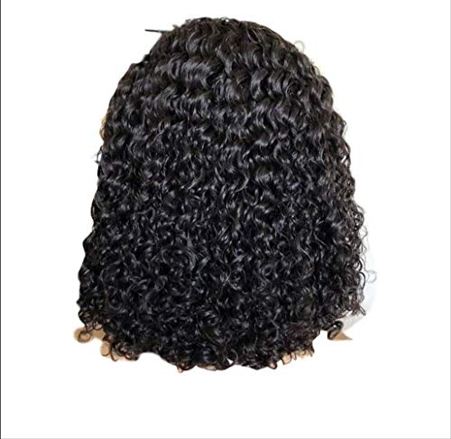 WFQ Perruque de cheveux humains avec dentelle frontale de densité 180 cheveux humains crépus bouclés frontaux perruques d'eau naturelle chinoise 15,2 cm