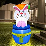 Zcaukya Easter Blow Up Yard Decoration, 4 FT LED Lighted Inflatable Easter Bunny Standing in an Easter Egg with Carrot, Inflatable Holiday Yard Lawn Garden Decorations for Indoor and Outdoor Use