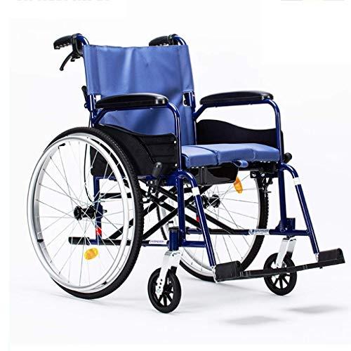 AOLI Faltbare Rollstuhl, leichte, tragbare senioren Rollstuhl, faltbare Aluminium Rollstuhl, mit Eigenantrieb Rollstuhl mit Handbremse, Geeignet für Menschen mit Behinderungen und ältere Menschen, Bl