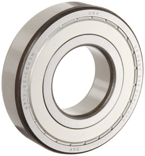 SKF 6301 2ZJEM Medium Series Deep Groove Ball Bearing, Deep Groove Design, ABEC 1 Precision, Double Shielded, Non-Contact, Steel Cage, C3 Clearance, 12mm Bore, 37mm OD, 12mm Width, 933lbf Static Load Capacity, 2190lbf Dynamic Load Capacity