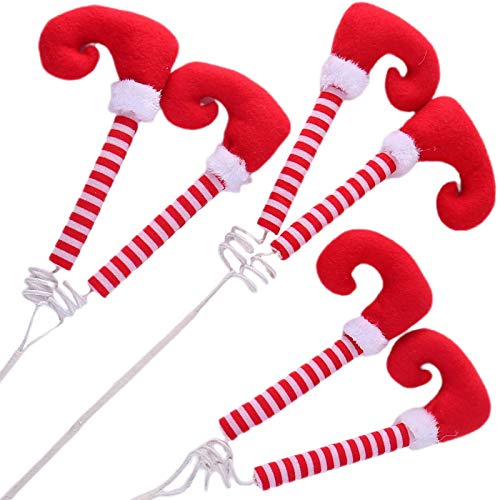 idyllic Christmas Picks Elf Legs Boot Pick Striped Red, Festive and Whimsical Decorations Ornaments for Christmas Tree