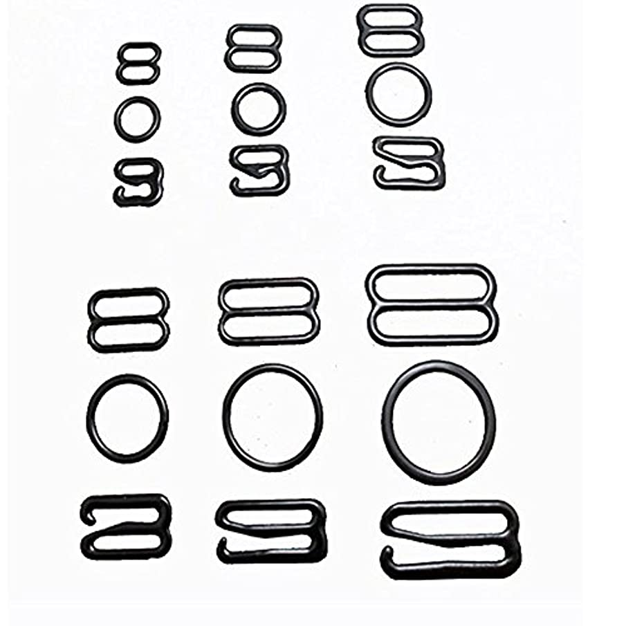 Wholesale 50set Size 8mm/10mm/12mm/15mm/20mm Black Color Nylon Plastic Bra Adjuster Buckles Slider Hook Ring