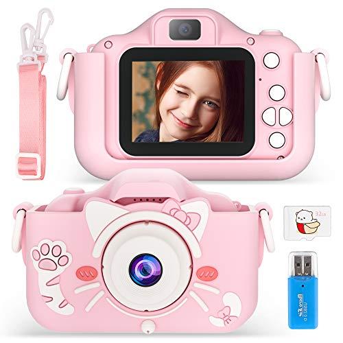 Vivibel Kinder Kamera, Kids Digital Fotokamera Selfie Videokamera mit 20 Megapixel Dual Lens 2 Inch Bildschirm 1080P 32G TF Karte Silikonhülle Geburtstagsgeschenk Spielzeug für Kinder auf Weihnachts