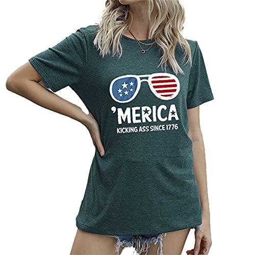Mayntop Camiseta de manga corta para mujer con diseño de bandera de Estados Unidos, 4 de julio, C-verde oscuro, 38