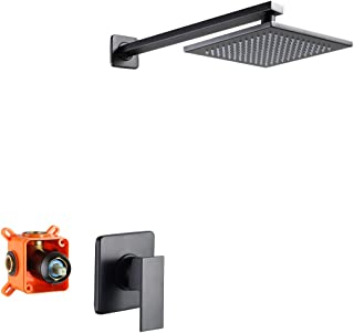 POP Black Shower Faucet Set with 8 Inch Square Solid Brass Rainfall Shower Head, Bathroom Rain Shower System, Wall Mounted Single Function Mixer Shower Trim Kit with Rough-in Valve