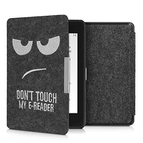 kwmobile Funda Compatible con Amazon Kindle Paperwhite (10. Gen - 2018) - Carcasa Plegable de Fieltro para e-Reader - Case Don't Touch my E-Reader Blanco/Gris Oscuro