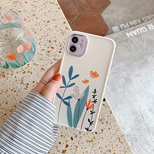 VHR Fundas Cute Love Heart Flower Leaf Phone Case para iPhone 12 11 Pro MAX 12 Mini 8 7 Plus X XS MAX XR Marble Wartercolor Painting Cover para iPhone Se 2020 T2