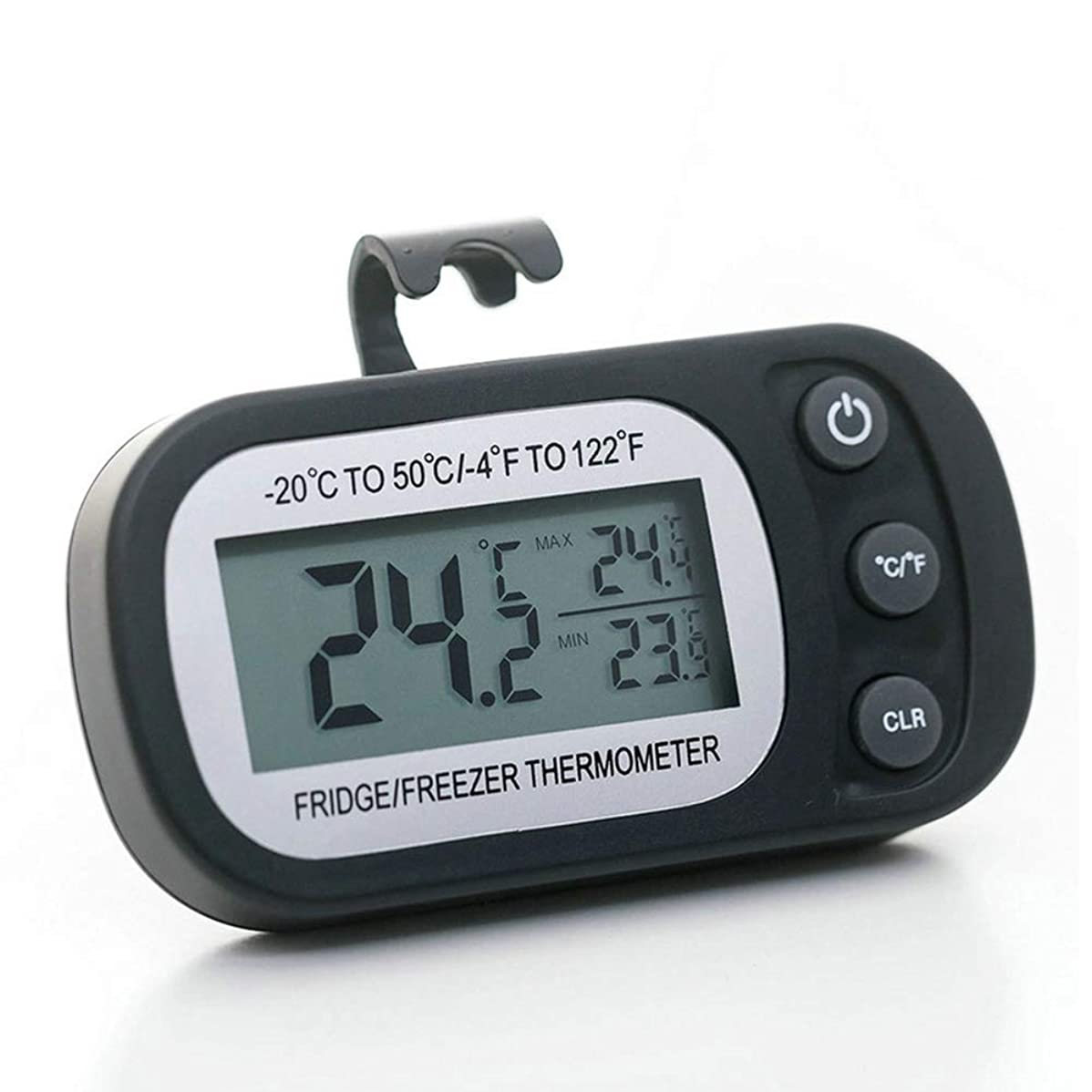 バイバイ番号店主室内 ワイヤレス デジタル 湿度計 温度計 キッチン冷蔵庫専用電子体温計防水と防湿マグネットフック付き,黒
