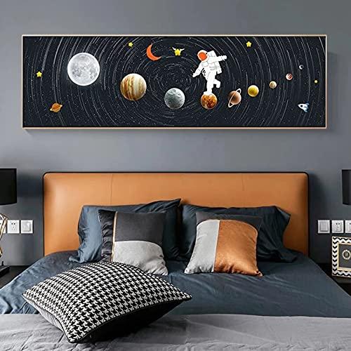 Astronauta espacio caminando lienzo pintura abstracto sistema Solar planetas pared arte carteles e impresiones nórdico sala de estar decoración del hogar 10x40 CM (sin marco)