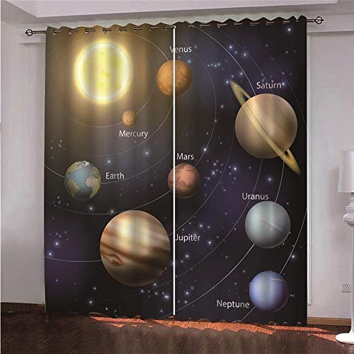 xczxc Verdunkelungsvorhang Planet Blickdichte Gardine Lichtundurchlässige Vorhänge mit Ösen für Schlafzimmer Kinderzimmer Geräuschreduzierung 2er Set 2X B140x H175 cm