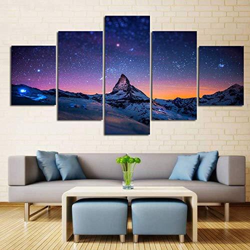 Canvas Hd Prints Poster Home Decor 5 Panelen Sterrenhemel Over Bergen Schilderij Modulaire Woonkamer Wall Art Fotolijst 20X35 20X45 20X55Cm Geen Frame
