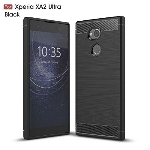 COPHONE® - Cover Nero Compatible Sony Xperia XA2 Ultra in Fibra di Carbonio, Antiscivolo. Custodia XA2 Ultra Silicone Molle Black , Anti-Urto…