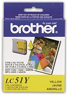 BROTHER LC-51Y BRAND NEW ORIGINAL (OEM) YELLOW INK CARTRIDGE FOR USE IN 1960C/2428C/1360/MFC230C/MFC240C/MFC3360C/DCP130C/C/MFC440CN/MFC465CN/MFC665CW/MFC685CW/MFC845CW/MFC885CW/MFC5460CN/MFC5860CN