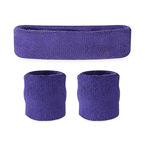 Suddora Kids Sweatband Set (1 Headband and 2 Wristbands) (Purple)