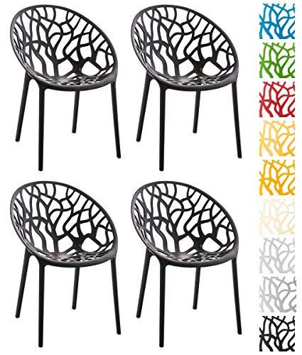 CLP 4er-Set Gartenstuhl Hope Aus Kunststoff I 4 x Wetterbeständiger Stapelstuhl Mit max 150 KG Belastbarkeit, Farbe:schwarz