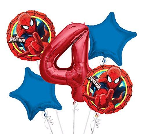 Spiderman Balloon Bouquet 4th Birthday 5 pcs - Party Supplies