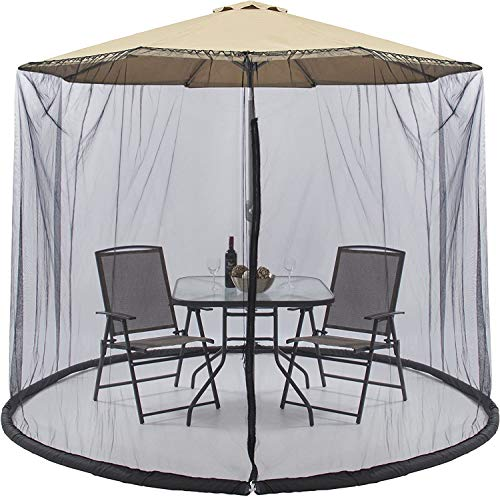 Best Choice Products Outdoor 9Ft Patio Umbrella Bug Screen W/Zipper Door and Polyester Netting, for Outdoor Patio Camping Umbrella Black