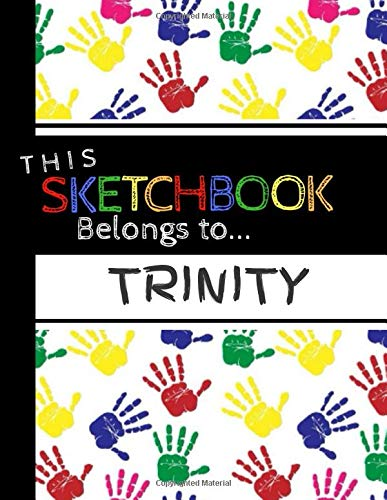 Trinity: Sketch Book | Colorful handprints | Personalized sketch pad for...