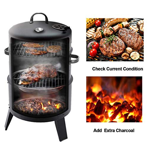 WLHER 3-in-1 Charcoal BBQ Smoker, Round Grill Cooker with Built in Thermometer and Hangers, Suitable for Outdoor Camping/Party/Picnic/Travel (Black)
