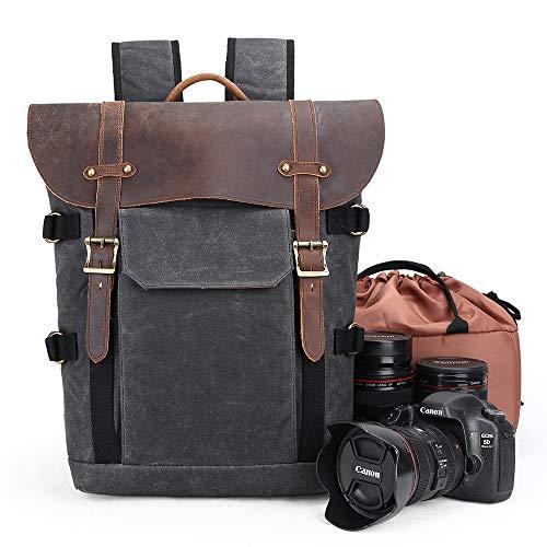 Kamerarucksack, Canvas, SLR, DSLR-Kameratasche, große Kapazität, vorne offen, wasserdicht, stoßfest, Kamerarucksack, Kamera-Reisetasche, professioneller Kamera-Objektiv-Organizer, schwarz