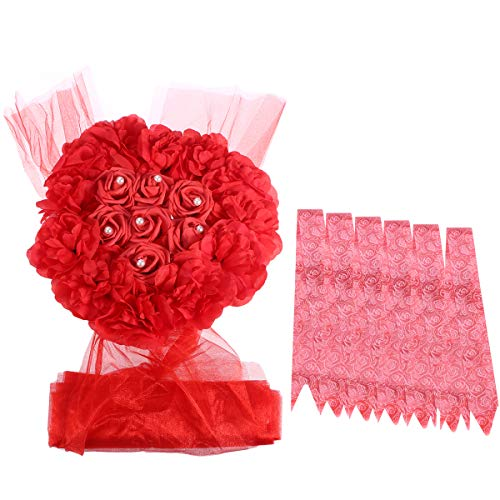 Amosfun Künstliche Blumen Hochzeit Tischdekoration Hochzeit Girlande Set für Hochzeit Auto Dekoration (rot)