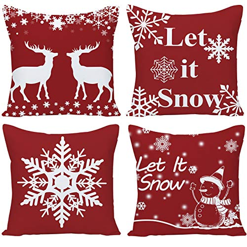Guhoo Pack of 4 Merry Christmas Happy Winter Snowflakes Let it Snow Merry and Bright Deer Linen Decorative Throw Pillow Cover Personalized Cushion Case for Sofa Farmhouse Square 18 Inches